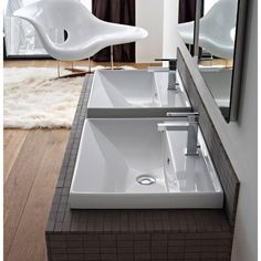 Begin with this luxury one hole porcelain sink. Self Rimming or wall mounted and available in white, this ceramic bathroom sink is best in a modern & contemporary bath. Designed and made by Scarabeo in Italy. From the Scarabeo ML collection. Drop In Bathroom Sinks, Wall Mounted Bathroom Sinks, Bathroom Faucets, Office Bathroom, Bathroom Ideas, Porcelain Sink, Ceramic Sink, Chrome Towel Bar, Floating Sink