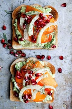 A recipe for avocado toast topped with sliced persimmon, fennel and pomegranate seeds. This is a great winter breakfast, brunch or snack.