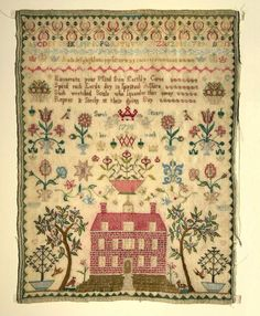Sarah Stuart 1798.  This one was reproduced by The Scarlet Letter and has a beautiful house and trees.  A nice, balanced sampler.