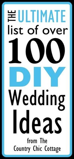 ★☯★ Over 100 #DIY #Wedding Ideas - The Ultimate List ★☯★ @Angie Countrychiccottage  NOTE for #bride & #groom : find here awesome ideas To Personalise your Wedding; you really need to save my #pin ....just pin now, read later.  List of 100+ DIY wedding ideas for you to grab tons of information, #inspiration. Grab a cup of coffee and get started on this ultimate list. Turn inspiration into reality.  Enjoy!   #OMG #tips #Trick #Goodies #Stuff #resource #Funny #Fun #amazing