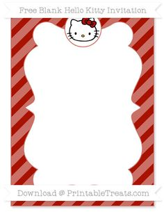 Free Turkey Red Diagonal Striped Blank Hello Kitty Invitation