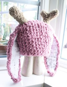 Jackalope Plum Bunny Baby Hat Rabbit Easter Costume. Handmade with love by Babamoon - Choose size Newborn to Adult - Can be made in other colours!