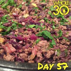 """Tonight's dinner is a ground beef skillet with - you guessed it - red cabbage, Brussels sprouts, red onion, garlic, and pomegranate vinegar. Very yummy!  #whole30 #whole100 #CTLTwhole100 #whole30homies #2015IGwhole30 #eatrealfood #cleaneating #jerf #healthy #mealideas #paleo #recipe #blog #considertheleafTURNED #day57"" Photo taken by @considertheleafturned on Instagram, pinned via the InstaPin iOS App! http://www.instapinapp.com (02/23/2015)"