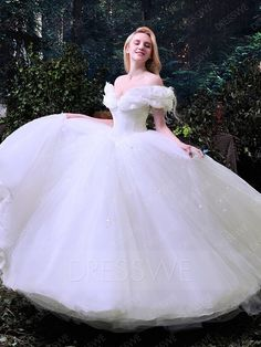 Fancy Off the Shoulder Ruffles Cinderella White Tulle Ball Gown Wedding Dress