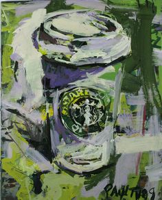 "Original Starbucks Coffee Cup Painting created with an abstract style on canvas, measures 20"" x 16"". Affordable original Starbucks artwork by Robert Joyner."