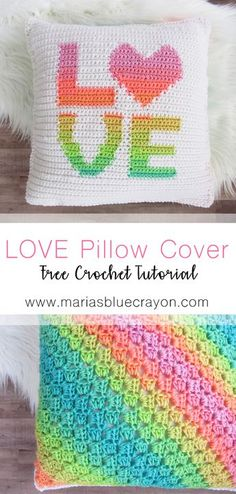 LOVE pillow cover | Free Crochet Pattern | Red Heart Super Saver Stripes | Pillow Cover Tutorial | Valentine Crochet | Home Decor DIY | Rainbow |