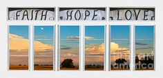 A scenic view through a Faith Hope Love white picture window of a beautiful sunset on thunderstorm clouds with full moon and blue sky above. #Nature #FineArt #Photography #artwork #Gallery #interiordesign #commercialart - #Photo #Art from #Colorado to decorate your office, home, restaurant, boardroom, waiting room or any commercial space starting at $22 - #CorporateArt by #Photographer Copyright James Insogna www.BoInsogna.com