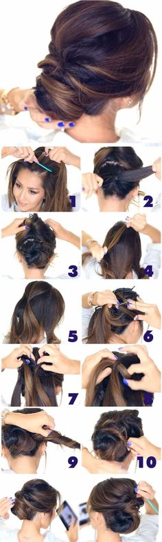 Best Hairstyles for Brides - 5 Minute Elegant Chignon - Amazing Hair Styles and Looks for Half Up Medium Styles, Updo With Long Hair, Short Curls, Vintage Looks with Veil, Headpieces, or With Tiara - Wedding Looks for Girls With Round Faces - Awesome Simple Bridal Style With Headband or Elegant Braided Up Dos - thegoddess.com/hairstyles-for-brides