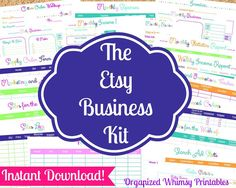 Get Your Etsy Business Organized!  INSTANT DOWNLOAD  22 Editable Pdf DocumentsThe by Organized Whimsy Printables