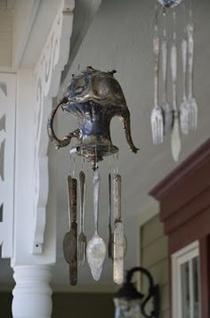 DIY:  How to Make Silver Wind Chimes - basic tutorial explains how salvaged flatware, goblets, plates, etc. were used to make this & others on this post - via Sweet Bear Creek Whims