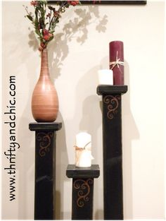homemade tall candle stands
