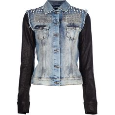 PHILIPP PLEIN denim studded jacket (€960) ❤ liked on Polyvore featuring outerwear, jackets, tops, coats & jackets, shirts, blue denim jacket, studded jacket, long blue jacket, long denim jacket en studded denim jacket
