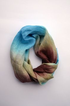 Long Linen Spring Scarf Dip-Dye Linen Scarf Infinity by lyralyra