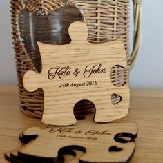 Wooden Jigsaw Puzzle Piece Wedding Table Coaster Personalised Favours for Guests