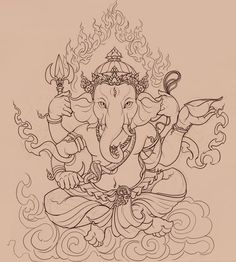 Ganesha by ~PinGponG83 on deviantART Arte Ganesha, Ganesha Drawing, Ganesha Painting, Ganesha Sketch, Shri Ganesh, Lord Ganesha, Ganesh Tattoo, Buddha Kunst, Buddhism
