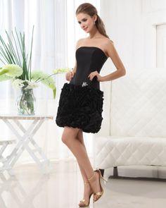 Strapless Taffeta Layer Short Bridesmaid Dress