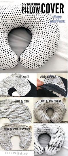 DIY your own nursing pillow cover for under $10! Best baby diys. Boppy pillow cover.