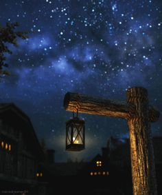 Lantern with candle on post under starry sky gif Sky Gif, Gif Animé, Animated Gif, Beautiful Gif, Beautiful Pictures, Gif Bonito, Beau Gif, Illusion Kunst, Foto Gif