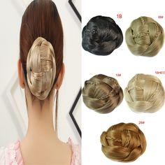 Synthetic chignon hair braided bun hairpiece 5 Colors Available fake hair bun pieces.