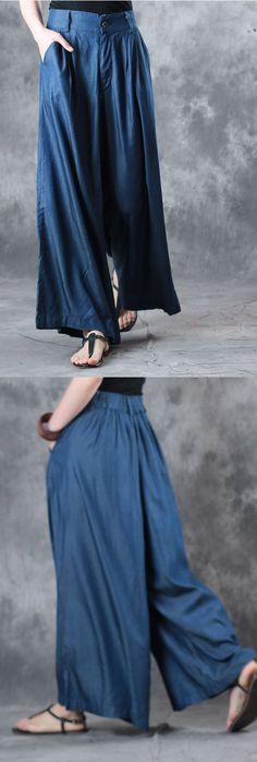 summer blue stylish pants loose draping wide leg pants
