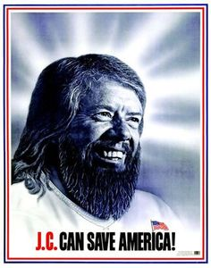 Jimmy Carter's image as a savior for America, much as Jesus Christ was a savior for Christians, is the focal point of this 1976 campaign poster. Carter ran as a Washington outsider and a reformer, not tainted by the political scandals of previous administrations. (Library of Congress)