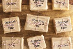 Gift wrap handmade soap, simple wax paper, craft paper and string. You can even personalize your message