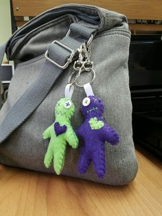 Voodoo doll purse charms hand sewn by Wenn's Weird Creations