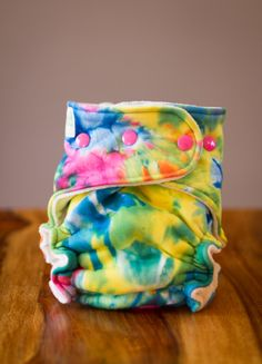 One Size Fitted Cloth Diaper Organic Bamboo - Rainbow Tie Dye. $28.50, via Etsy.