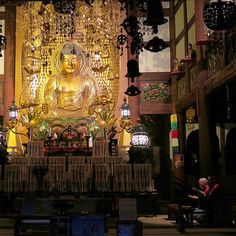 Evening sutra chanting at Kuhonbutsu temple in Okusawa. The temple was founded in 1678 and displays nine statues of Amida Nyorai each of which has a different posture. #japan #tokyo #travel #temple #buddha