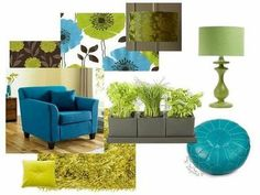 teal with lime green living room / For the home - Juxtapost