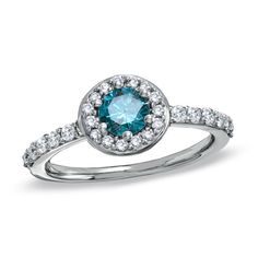 1 CT. T.W. Enhanced Blue and White Diamond Frame Engagement Ring in 14K White Gold