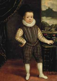 Portrait of a boy, full-length, in a grey and black gold-embroidered costume and a white ruff, standing beside a draped table in an interior, a landscape beyond