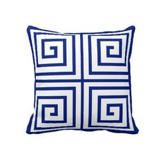 navy and white Greek Key pillow