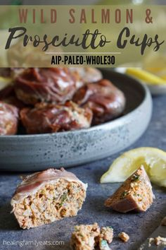 """It's like a fish cake, but wrapped in prosciutto to form a little """"hand pie"""". Perfect to reheat the next day for breakfast, lunch, dinner or a snack! AIP, Paleo, Whole30, GAPS and SCD friendly. #wildsalmon #prosciutto #fishcake #baked #breakfast #dinner #lunch #snack #handpie #aip #paleo #whole30 #scd #gaps Whole30 Recipes, Snacks Recipes, Dairy Free Recipes, Keto Snacks, Appetizer Recipes, Real Food Recipes, Healthy Snacks, Dinner Recipes, Healthy Recipes"""