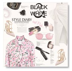"""Style Diary...Black, White & Pink..."" by desert-belle ❤ liked on Polyvore featuring Moschino, Bobbi Brown Cosmetics, Ippolita, Valentino, Maticevski, Ivanka Trump, Maison Margiela, Garance Doré, women's clothing and women"