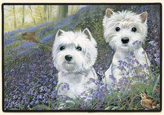 Westie Bluebells Doormat by Pollyanna Pickering