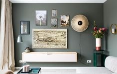 On the left side of the wall wall lamp Brisbane grey-green recently featured on Dutch tv in make-over program @ VT Wonen. Lamp is adjustable and also in matt white or black available. Bamboo wall lamp on the right from our sister company GOOD&MOJO! Paint Combinations, Bamboo Wall, Green And Grey, Sweet Home, Gallery Wall, Flooring, Living Room, Interior Design, House