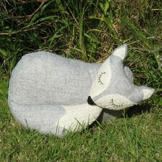 Grey fox. A snoozy fox cushion.  Fox pillow. £24.00