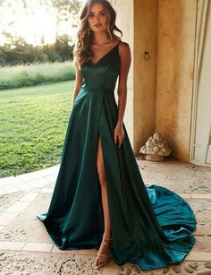 Simple A Line Spaghetti Straps Green Prom Dresses with Split Front