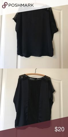 Express Navy Blue Lace Oversize Top Silk with Black Lace Accent. Size M ♡BUNDLE & SAVE!!!  ♥SAME DAY OR NEXT DAY SHIPPING!!! ♡TOP RATED SELLER (CHECK REVIEWS) Express Tops Blouses