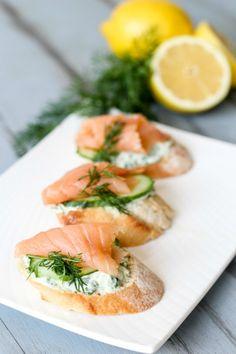 salmon and yogurt canapes