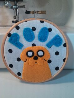 Adventure Time - Jake the Dog Embroidery (Poop) Hoop. $20.00, via Etsy.
