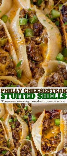 Philly Cheesesteak Stuffed Shells made with ground beef, cheddar, bell peppers and onions with a creamy sauce to drizzle over the shells when they're done.