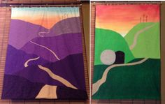 Simple design Lent and Easter banners by Amy Parker for Village Chapel Presbyterian Church, Charleston, WV.