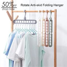 This Rotate Anti-skid Folding Hangers has 9 holes to hang clothes vertically, also effectively anti-skid. And its convenient rotation and folding design could greatly save your cabinet space. It's a must-have item for your home. Home Organization Hacks, Closet Organization, Organizing, Maximize Closet Space, Ideias Diy, Home Gadgets, Home Hacks, Space Saving, Bedroom Decor