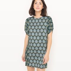 Robe-housse imprimée R studio Short Sleeve Dresses, Dresses With Sleeves, Polka Dot Top, Ideias Fashion, Tunic Tops, Outfits, Studio, Women, Patterned Dress