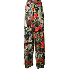 ALICE+OLIVIA flower print trousers ($383) found on Polyvore