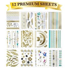 Tapp Collections High Gloss Shimmer Metallic Temporary Tattoos - 12-Sheet Pack * Click image to review more details. (This is an affiliate link) #Makeup