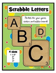 Use these printable scrabble letters for your own games, centers, and bulletin boards. Just print on card stock, laminate, cut and you\'re ready to ...