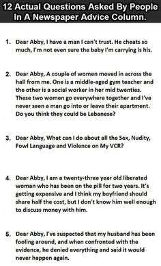 12 Actual questions asked by people in a newspaper advice column. Part 1 #funny #lol